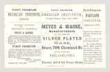 Meyer & Warne, Manufacturers of All Kinds of Silver Plated Ware