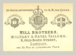 Hill Brothers, Military & Naval Tailors