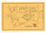 Bryn Mawr College Campus Map, 1954