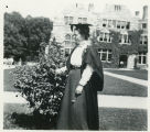 Student in mortarboard, outdoors