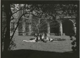 Students by Cloister Fountain