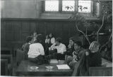 Men and women in Rhodes Dining Hall