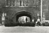 Students outside Pembroke Arch