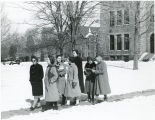 Students walking in winter, Bryn Mawr College campus