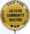 Vietnam Community Meeting. End The War. Berkeley. May 21, 1965.