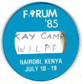 Forum '85. Kay Camp WILPF. Nairobi, Kenya July 10-19