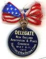 Delegate; New England Arbitation & Peace Congress; May 8-11, 1910; Hartford & New Britain,...