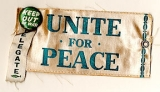 Delegate [ribbon]. Keep Out of War [button]. Unite for Peace [armband]
