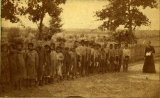 Kickapoo Village - schoolchildren and teacher