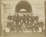 Haverford students in front of Barclay Hall