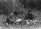Two Students Reading Outside by Tree