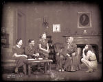 The Philadelphia Story: Five cast members in interior of the Lord home, Katharine Hepburn as Tracy...
