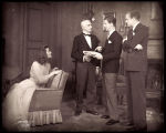 The Philadelphia Story: Four cast members, featuring Katharine Hepburn as Tracy Lord at left and...