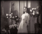 The Philadelphia Story: Full-length character portrait of Katharine Hepburn as Tracy Lord, with...