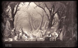 As You Like It: Wide view of the set for the forest of Arden, featuring William Prince as Orlando,...