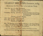 Yearly Meeting, London, 1764, Meetings for Worship to be held this week