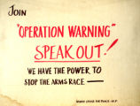 "Join """"Operation Warning"""" Speak Out! We Have the Power to Stop the Arms Race"