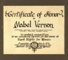 Certificate of Honor to Mabel Vernon