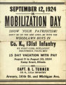 Sept. 12, 1924 Is Mobilization Day . Show your Patriotism!  Don't be on the side lines - be with...