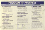 Program for Progress. Jobs. Peace. Freedom. [America's Program for Progress in an Election Year.]