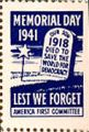 Memorial Day 1941; Our Son Died to Save the World for Democracy 1918; Lest We Forget