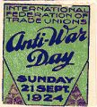 Anti-War Day, Sunday, 21 Sept. 1924; International Federation of Trade Unions
