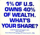 1% of U.S. Owns 40% of Wealth; What's Your Share?; Share the Wealth...