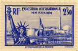 RF; Exposition Internationale; New York 1939; 2F 50; Postes; Le Pavilion de la France.