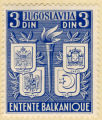 Jugoslavia.3 Din. Entente Balkanique. Yougoslavie. Grece. Roumanie. Turquie.