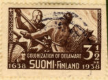 Colonization of Delaware. Suomi Finland. 1638 1938. 3 1/2 mk.