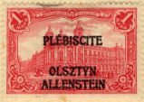 Plebiscite Olsztyn Allenstein. Reichspostamte in Berlin. 1 mark.
