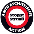 Antifaschistische Aktion. Stoppt Strauss. (In German: Anti-Fascist Action. Stop Strauss.)