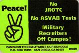 Peace! No JROTC; No ASVAB Tests; Military Recruiters Off Campus!