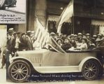 Dr. Anna Howard Shaw driving in Suffrage Parade